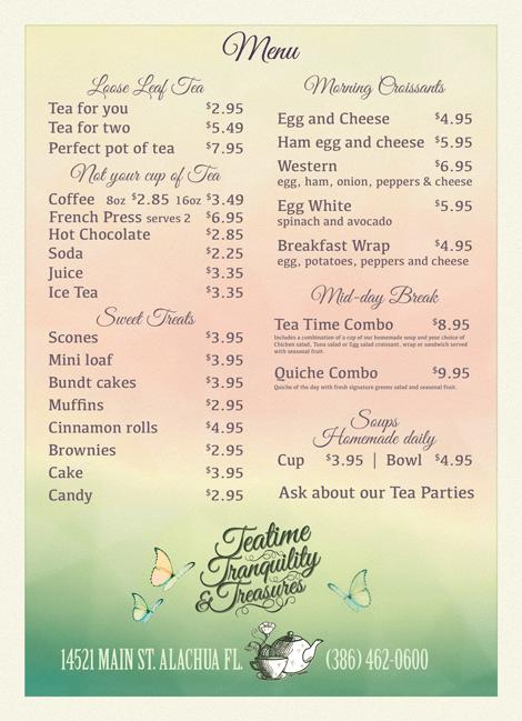 Spring Teatime Menu
